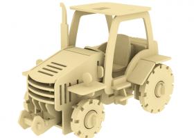 Дървен 3D конструктор - Трактор - 120 части